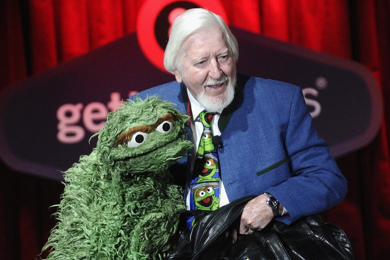 Caroll Spinney and his grouchiest friend.