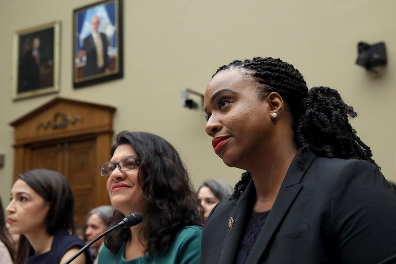Reps. Ayanna S. Pressley, Rashida Tlaib, and Alexandria Ocasio-Cortez at a congressional hearing.