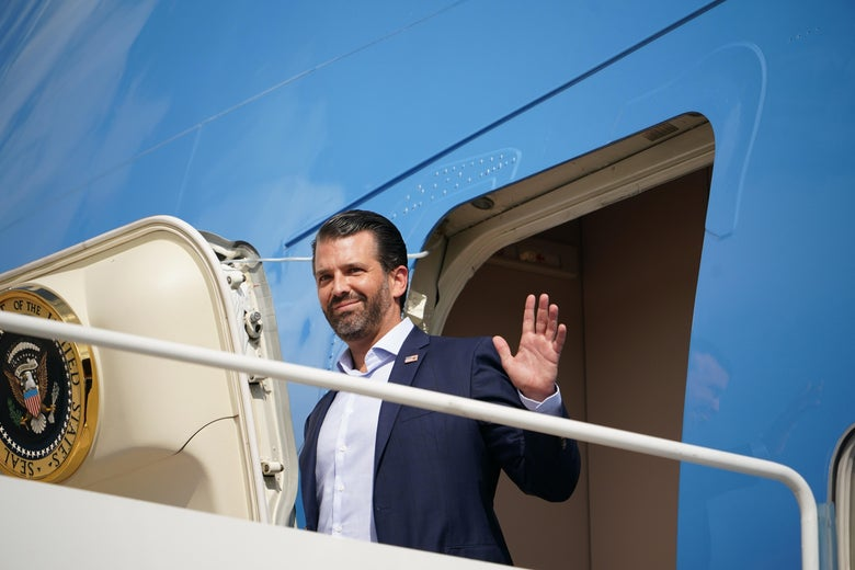 Donald Trump Jr. arrives before President Donald Trump and First Lady Melania Trump board Air Force One, departing from Andrews Air Force Base in Maryland on September 29, 2020.