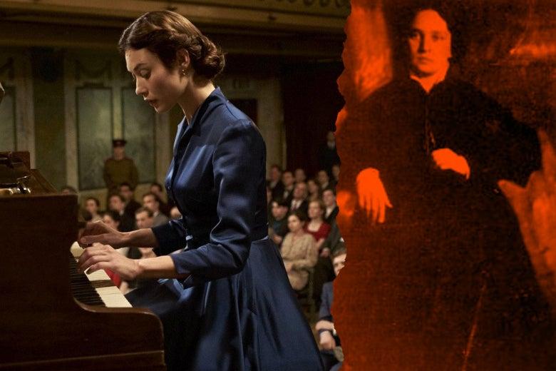 At left: Olga Kurylenko in the film, playing the piano. At right: pianist Maria Yudina.