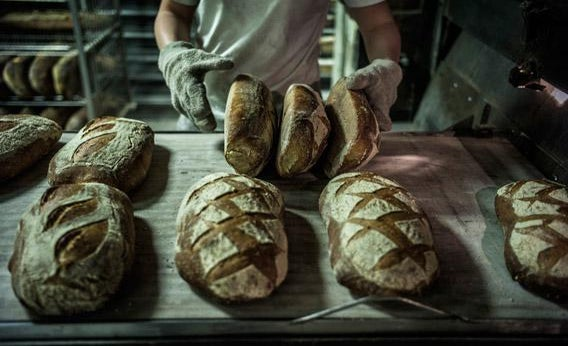 A baker stores breads after baking, on December 27, 2012 in a bakery of Ecole en Bauges, French Alps.