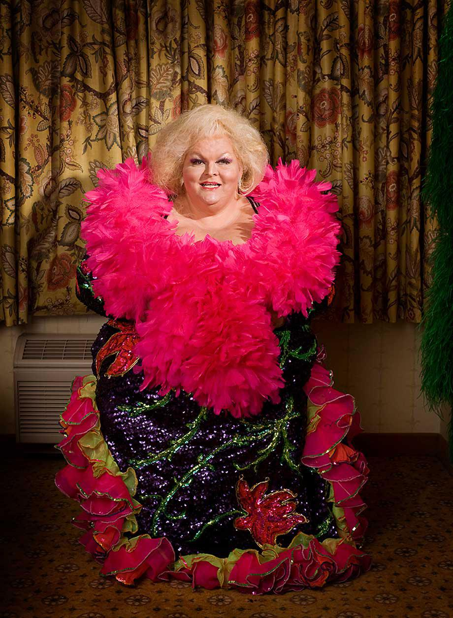 Big Fannie Annie, by her own account 450 pounds of sizzling sex, worked as a feature performer from 1968 to 1997. She made the costume she's wearing and was photographed in her hotel room in Las Vegas during Miss Exotic World in 2009.