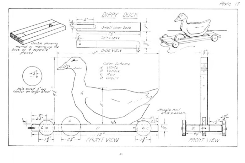Diagram page of a Dippy Duck schematic from Toy Craft (1922)