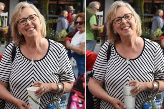 Side by side photos of Green Party Leader Elizabeth May holding different cups.