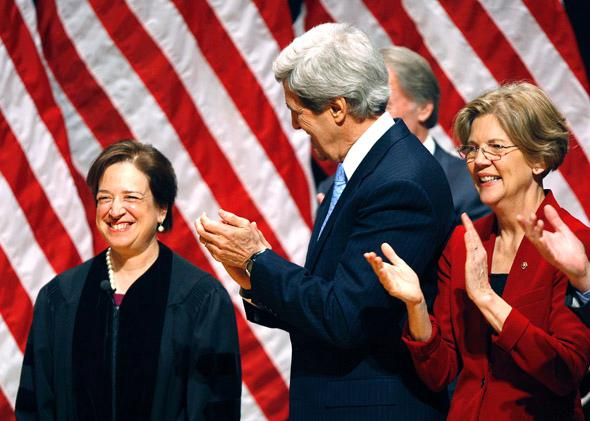 Supreme Court Justice Elena Kagan is acknowledged during a reenactment ceremony at Roxbury Community College for Senator elect Elizabeth Warren in 2012.