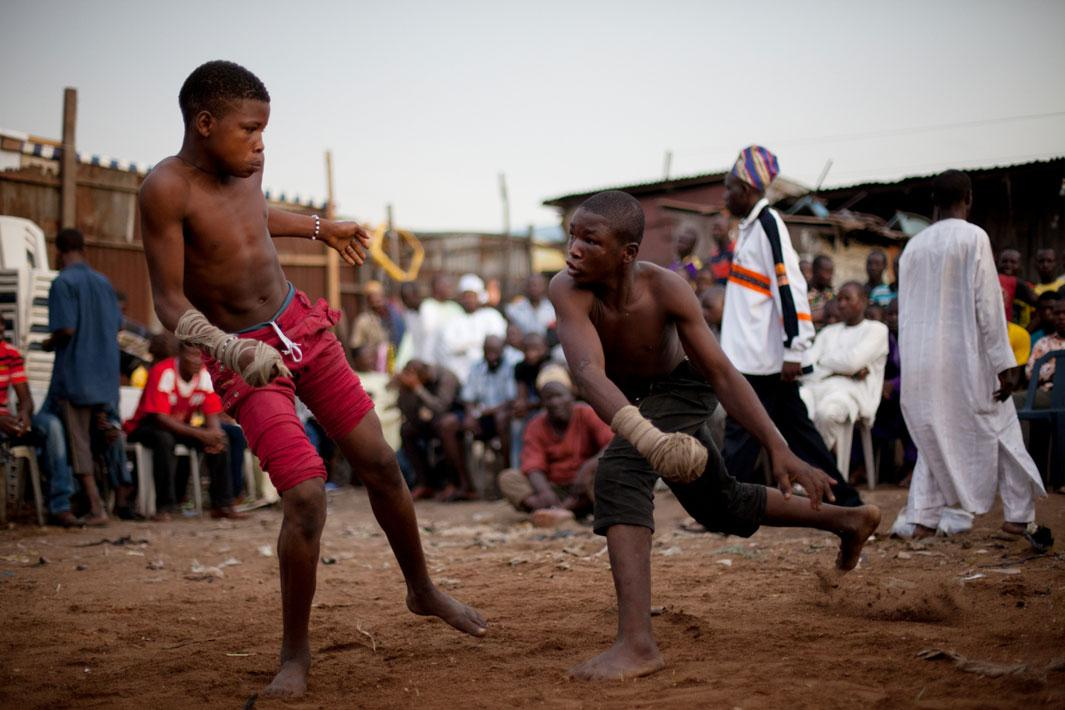 Lagos, Nigeria- Young Dambe boxers during a match in Lagos, Nigeria.