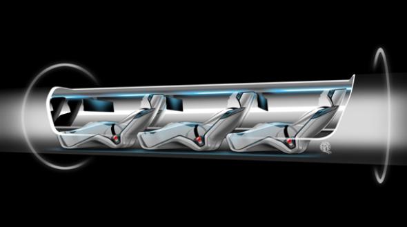 Hyperloop passenger capsule version cutaway with passengers onboard.
