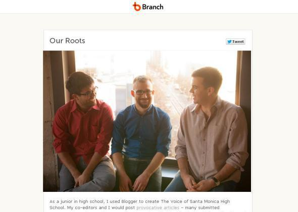 Josh Miller, right, and his Branch co-founders.