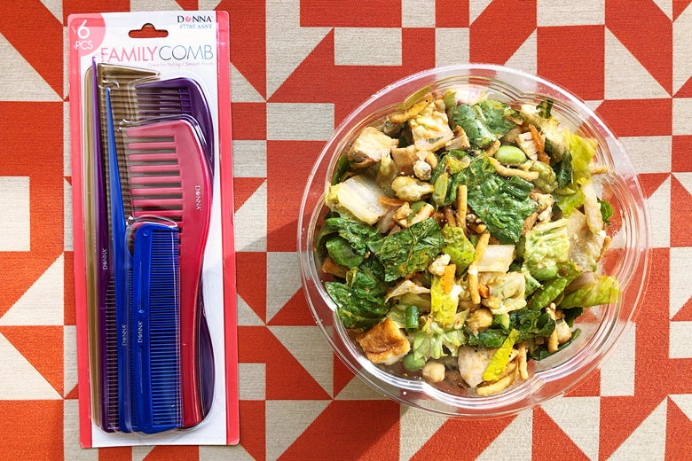 Package of combs and a salad.