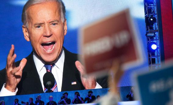 Vice-president Biden speaks at the 2012 Democratic National Convention in Charlotte, NC.