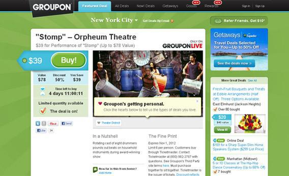 Groupon screenshot.