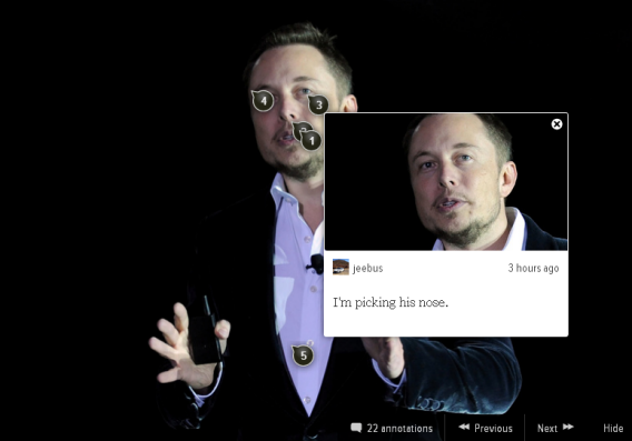 Kinja commenter picking Elon Musk's nose