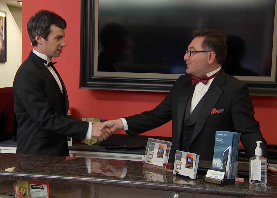 Nathan for You, Season 3, electronics store, black-tie, tvs