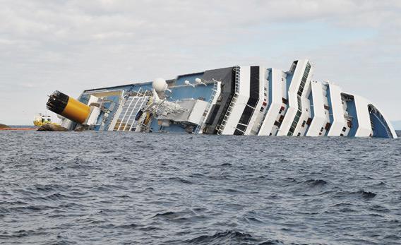 The cruise ship Costa Concordia lies stricken off the shore of the island of Giglio.