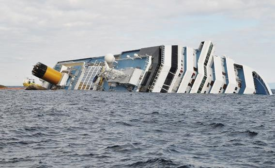 The cruise ship Costa Concordia lies stricken off the shore of the island of Giglio.