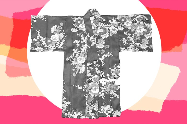A child's kimono against a pink and yellow background.