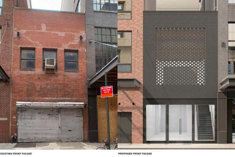 Side-by-side of a decrepit storefront and a proposal for a redesign