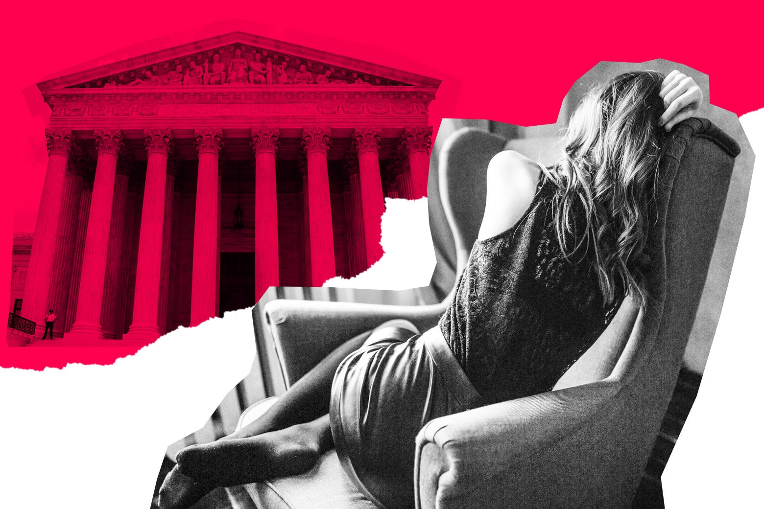 A woman curled up in an armchair, with the Supreme Court building in the background.