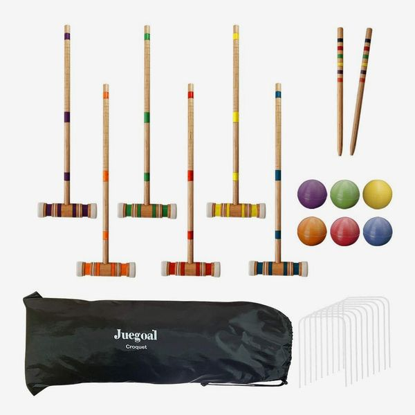 Juegoal Six Player Croquet Set with Drawstring Bag,