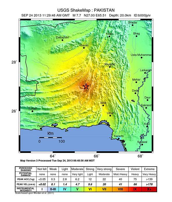 USGS Shake Map: Pakistan