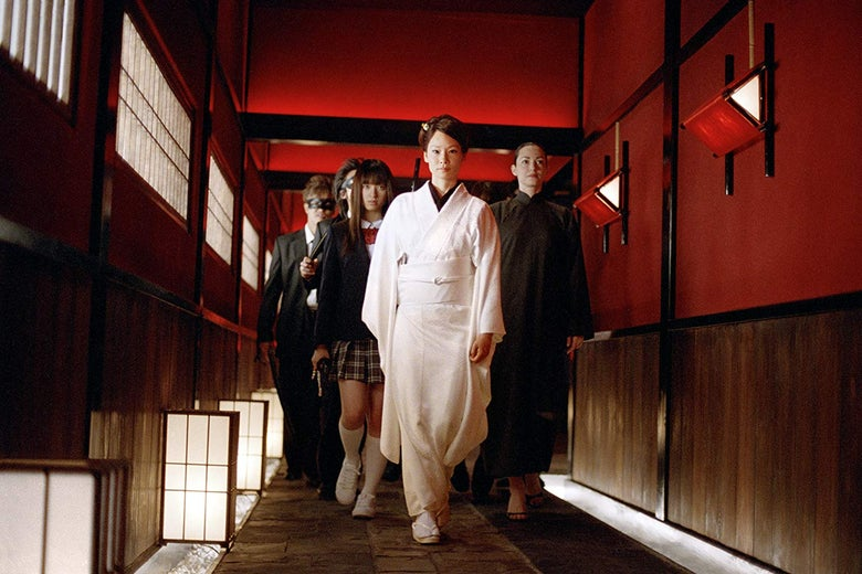 Lucy Liu, Julie Dreyfus, and Chiaki Kuriyama in Kill Bill Vol. 1.