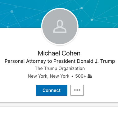 "Image reads ""Michael Cohen, personal attorney to president Donald  J. Trump."""
