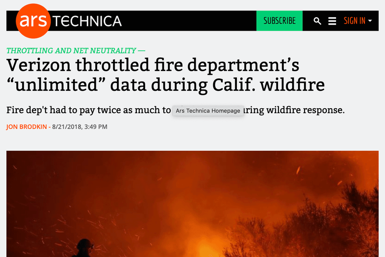 "An Ars Technica headline that says, ""Verizon throttled fire department's 'unlimited' data during Calif. wildfire."""