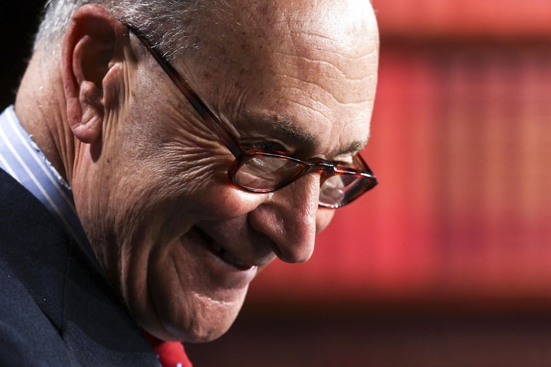 Close-up of Schumer grinning deviously