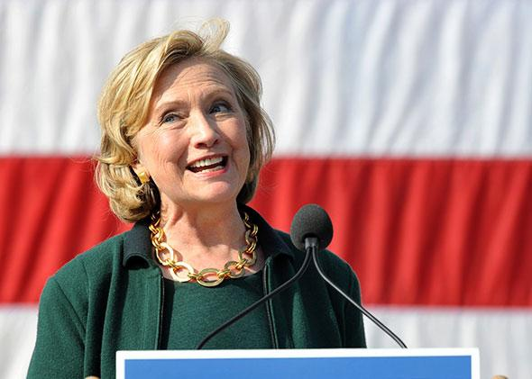 Former Secretary of State Hillary Rodham Clinton speaks to a large gathering at the 37th Harkin Steak Fry, September 14, 2014 in Indianola, Iowa.