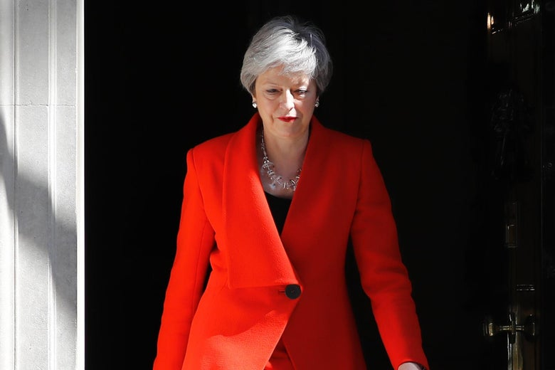 Britain's Prime Minister Theresa May arrives to announce her resignation outside 10 Downing Street in London on Friday.