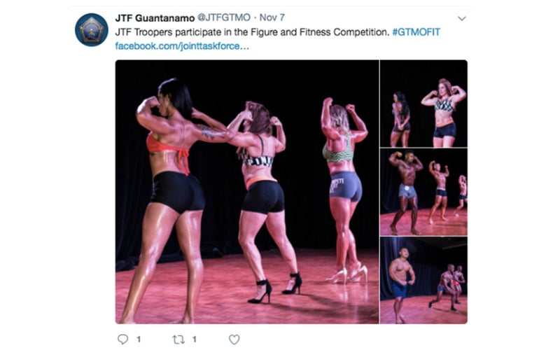 A tweet deleted by @JTFGTMO in November 2017 about the Figure and Fitness competition at Gitmo.