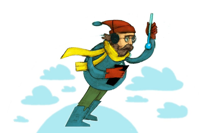 Illustration by Rob Donnelly of a man holding a thermometer on a windy mountain top surrounded by clouds.