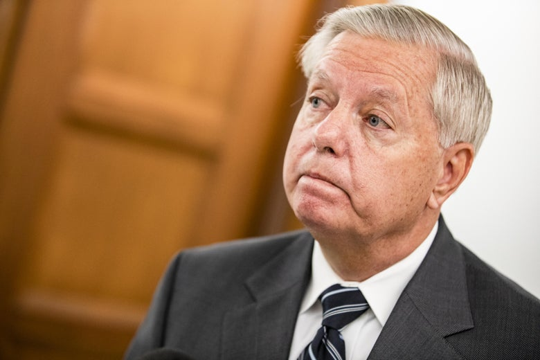 Lindsey Graham looking pensive