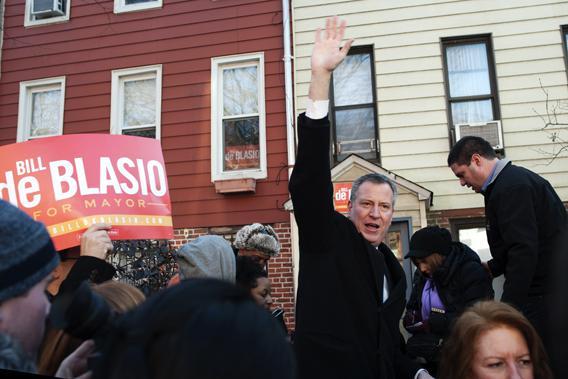 Bill de Blasio Campaigning