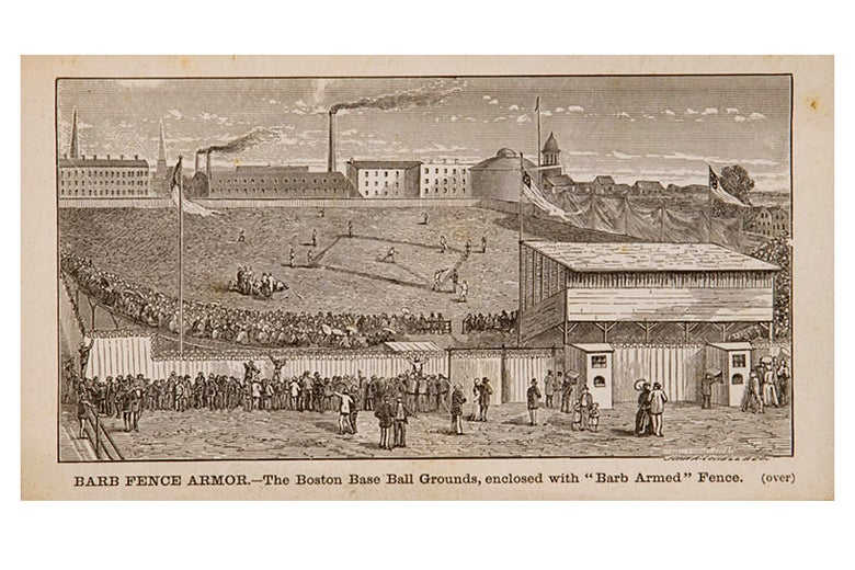 "1876 Washburn & Moen ""Barb Fence Armor"" trading card featuring the Boston Base Ball Grounds."
