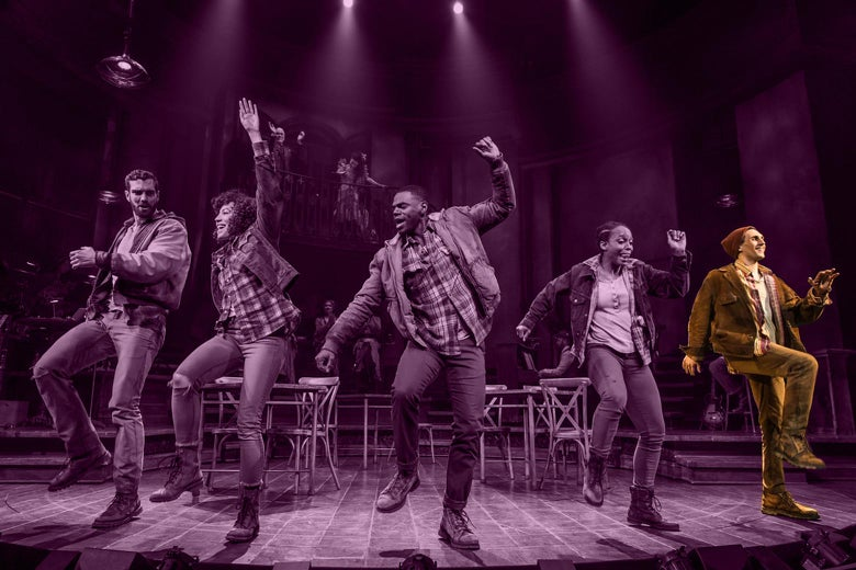 Five actors dancing onstage with chairs behind them. Krause is on the end of the chorus line, highlighted.