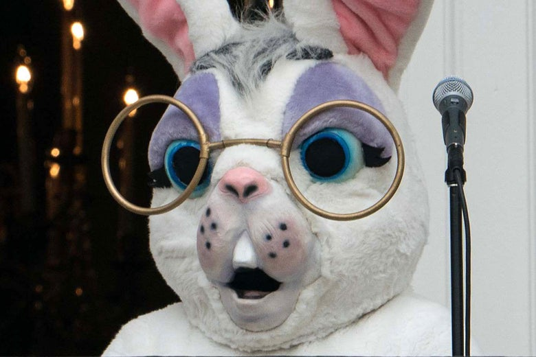 Sean Spicer in an Easter bunny costume.