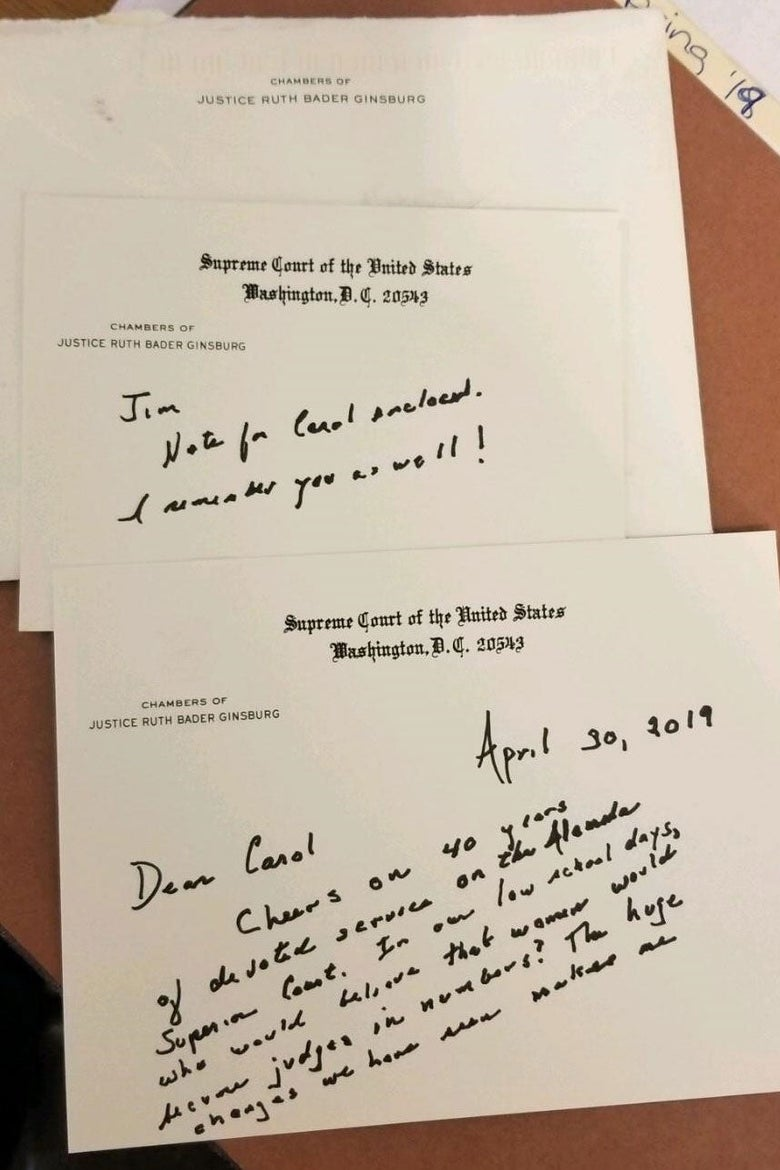 A note to Carol from RBG.