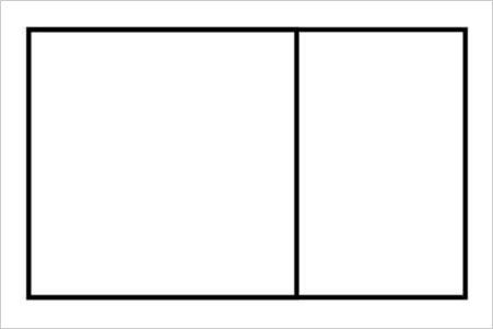 A rectangle with a vertical line through it such that a square is formed on the left side.