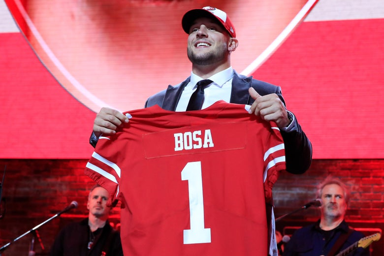 Nick Bosa of Ohio State reacts after being chosen #2 overall by the San Francisco 49ers during the first round of the 2019 NFL Draft on April 25, 2019 in Nashville, Tennessee.