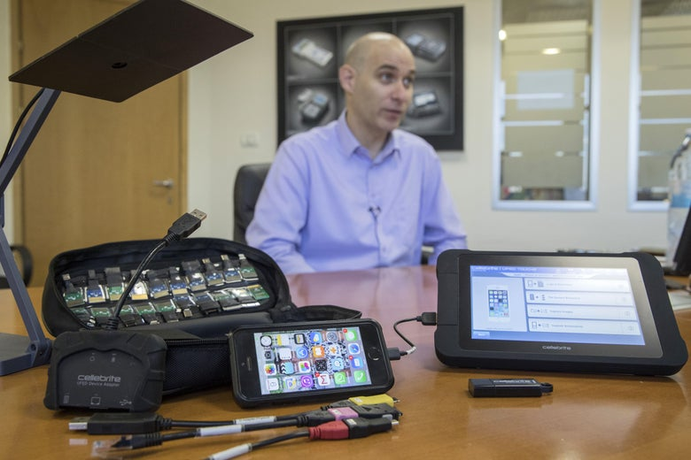 Leeor Ben-Peretz, the executive vice president of the Israeli firm Cellebrite's technology, shows devices and explains the hacking technology developed by his company.