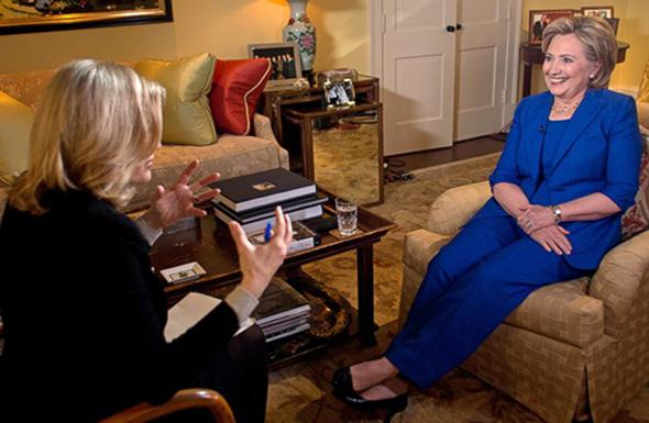 Diane Sawyer and Hillary Clinton.