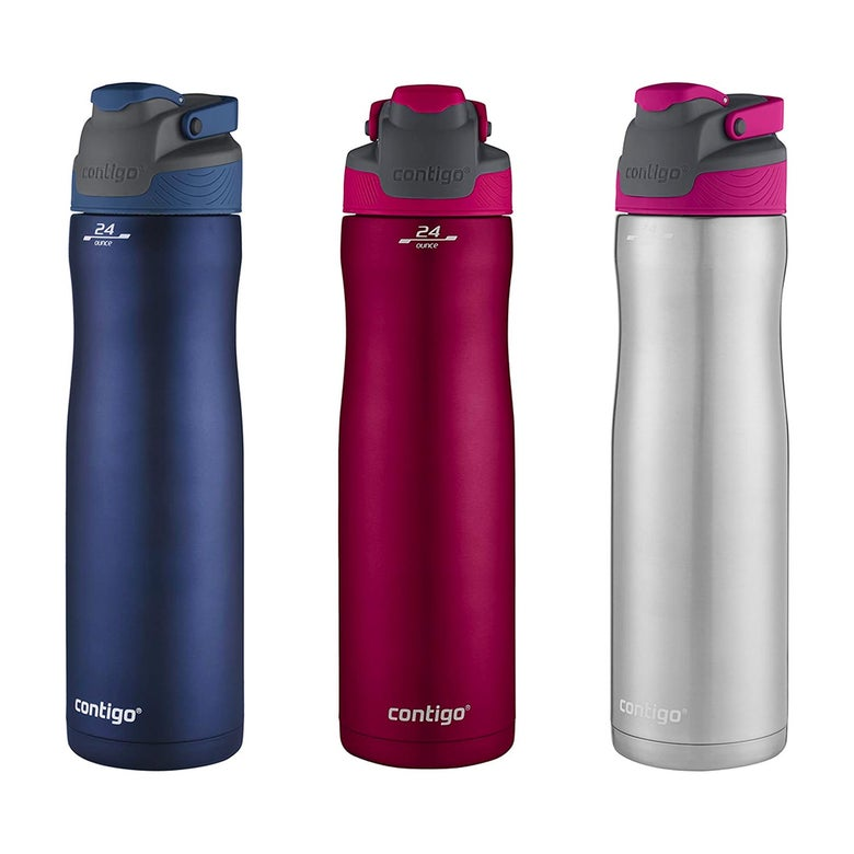 Water bottle in three different colors