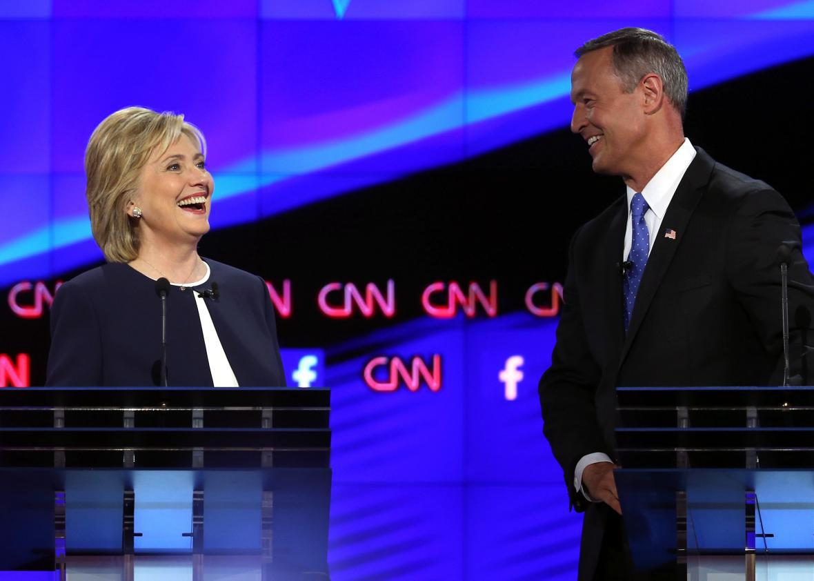 Hillary Clinton and Martin O'Malley take part in the Democratic presidential debate on Oct. 13, 2015, in Las Vegas.
