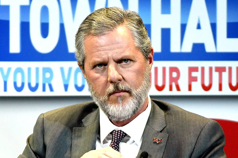 Jerry Falwell Jr. furrows his brow while onstage at an event.