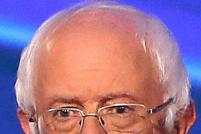 A zoomed-in image of Bernie Sanders' remarkably smooth forehead