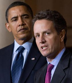 President Barack Obama and Treasury Secretary Timothy Geithner. Click image to expand.