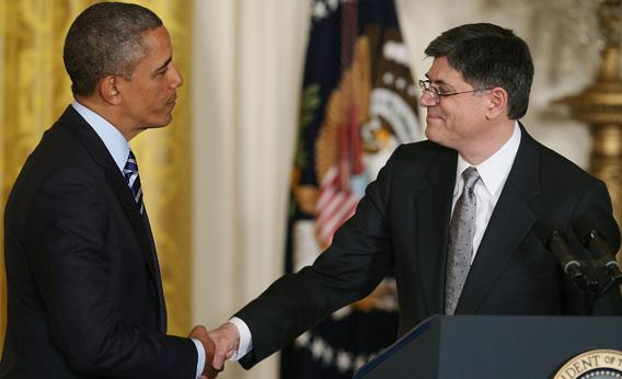 President Obama shakes hands with Jacob Lew.