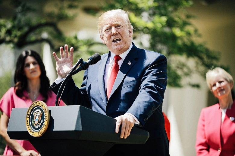 President Donald Trump delivers remarks during an event to mark the National Day of Prayer in the Rose Garden at the White House Thursday in Washington.