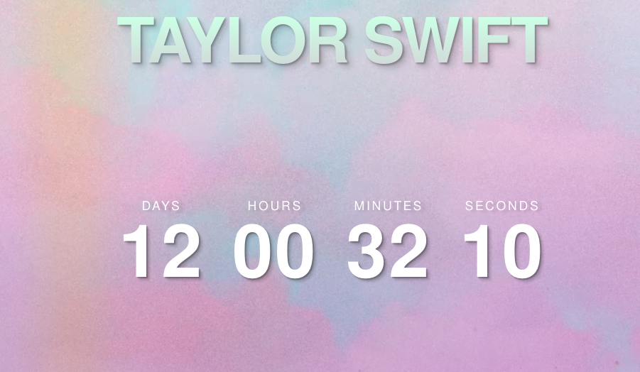 A screenshot of the countdown clock on Taylor Swift's website.